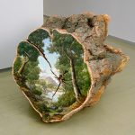 Cut Logs with Landscapes Painted On